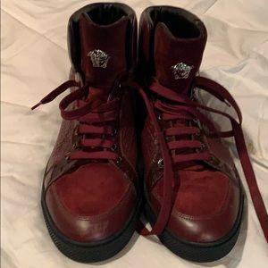 Versace MENS Medusa Greca Embossed Hi Top Shoes